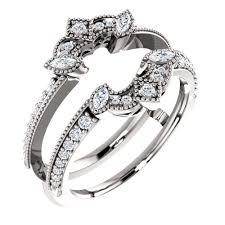 white gold art deco inspired milgrain diamond ring guard