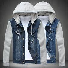 jean jacket with hoodie for men fit jacket