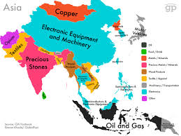 Continent Of Asia Map by Maps Show Countries U0027 Highest Valued Exports From Cia Factbook Data