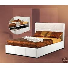bed street double white faux leather ottoman storage bed