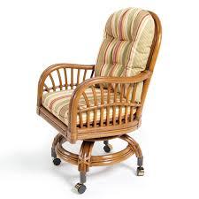 Rattan Kitchen Furniture Rattan Kitchen Chairs With Wheels And Striped Cushion Decofurnish