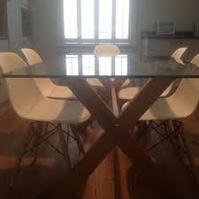 john lewis gene glass top oak cross framed 6 seater dining table