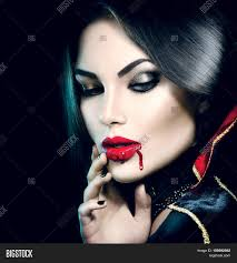 Halloween Makeup Design Vampire Halloween Woman Portrait Beauty Vampire With