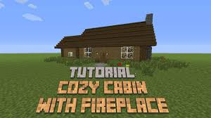 minecraft how to build a cozy cabin with fireplace tutorial