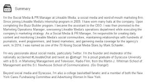 Resume Biography Sample by How To Write The Perfect Social Media Bio U2014 Likeable Media