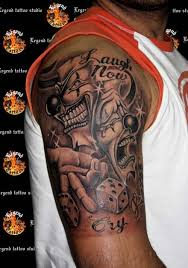 upper arm gambling joker tattoo design for men in 2017 real photo