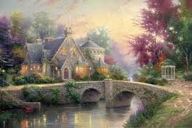 llight manor kinkade painting bridge colorful