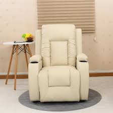 Armchair Drink Holder Oscar Cream Leather Recliner W Drink Holders Armchair Sofa Chair