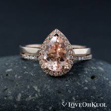 Teardrop Wedding Ring by Teardrop Halo Morganite Enagement Ring And Half Eternity Wedding