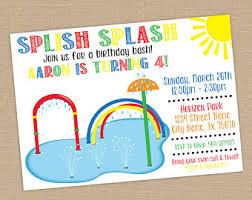 boy splash water birthday invitation digital file splash pad