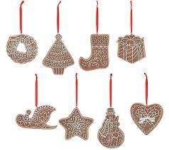 gingerbread ornaments set of 8 gingerbread cookie ornaments by valerie page 1 qvc