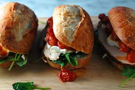 chicken sandwiches with brie spinach and thyme roasted tomatoes