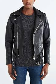 black leather biker jacket urban renewal pelechecoco leather biker jacket in black for men lyst
