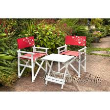 stylish wooden directors chair set in white 2 chairs u0026 1 table