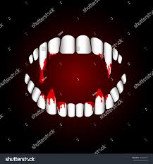 halloween background dental vampire teeth blood on dark background stock illustration