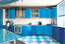 Blue Floor L Inspiring Modular Kitchen With L Shape Features Sky Blue Color
