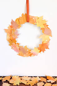 kids craft watercolor fall leaf wreath happiness is homemade