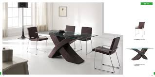rectangle glass dining table with dark brown crossed legs combined