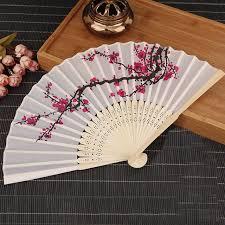 hand fans for sale top sale white polyester fans elegant plum blossom flower print