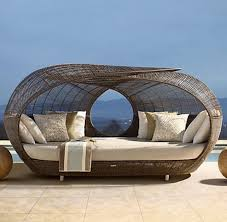 rattan wicker outdoor daybed brown finish unusual patio furniture