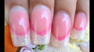 acrylic nails glitter french tips with pink smile line part 1