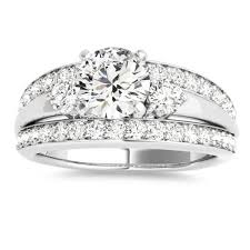 white stones rings images Wide band engagement ring diamond side stones 14k white gold 0 75ct jpg