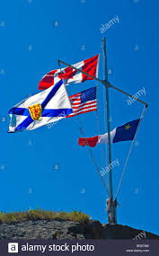Usa Flag Cape Canada Nova Scotia Acadian And Usa Flags Flying From A