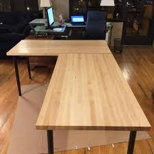 I Shaped Desk by Butcher Block Desk Desk Storage Sneaky We Next The Stain After