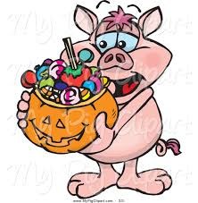 halloween basket swine clipart of a happy trick or treating pig holding a pumpkin