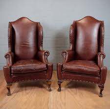 Cheap Leather Armchairs Uk Pair High Back Leather Armchairs 239013 Sellingantiques Co Uk