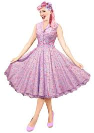 buy 1950s 50s vintage kitsch lilac cupcakes print tea swing dress