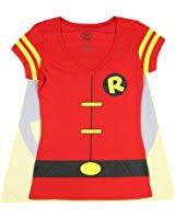 amazon com dc comics women u0027s robin t shirt with cape and eye mask
