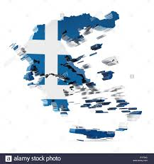 Greek Map Greece Map With Greek Flag Texture Isolated On White Background