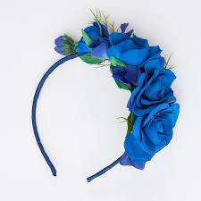 flower band blue floral hair band thedog