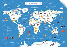 Ocean Map World by World Map Chart And Posters For Kids Ekdali