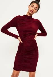 burgundy ruched detail bodycon dress missguided