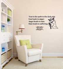 wall decals quote fear path dark side star wars vinyl sticker wall decals quote fear path dark side star wars vinyl sticker nursery decor room nursery wall stickers size 89 43cm in wall stickers from home garden on