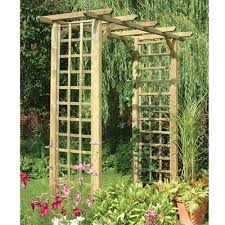 square wooden classic arch trellis climbing plant garden support