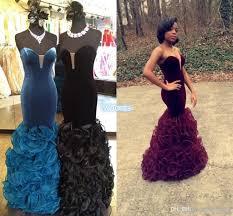 black girls prom dresses 2016 velvet ruffles organza