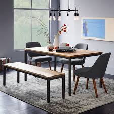 Wood Kitchen Table With Bench And Chairs Box Frame Dining Table Wood West Elm