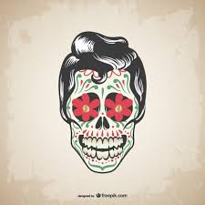 male mexican skull tattoo vector free download
