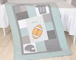 Baby Boys Crib Bedding by Football Blanket Baby Boy Sports Crib Bedding Gray Mint Green