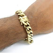 stainless steel gold plated bracelet images Harlembling 12mm men 39 s cuban miami link bracelet 14k gold plated
