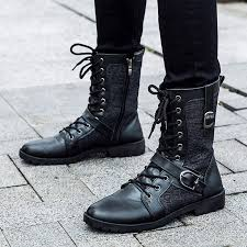 lace up moto boots autumn punk martin boots men fashion pu leather lace up motorcycle