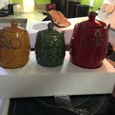 owl canister set cookie jar ceramic vintage kitchen 4 piece