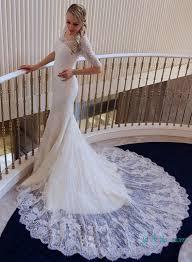 h1633 modest lace scalope half sleeves mermaid wedding dress