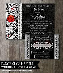 Halloween Wedding Sayings Sugar Skull Wedding Invitation Diy Black And White Fancy Sugar