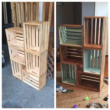 6 wooden crates from walmart stain and chalk paint craftiness