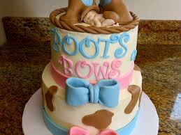 boots or bows baby gender reveal cake cakecentral com
