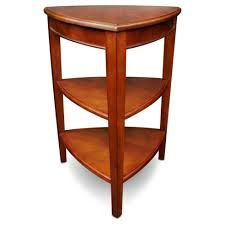 leick corner accent table shield tier corner table glazed auburn leick furniture target